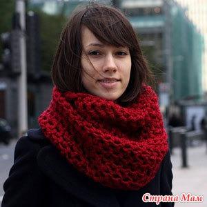 шарф снуд из плюшевой пряжи спицами