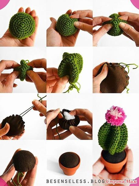 Вязание кактус крючком-мастер класс 38