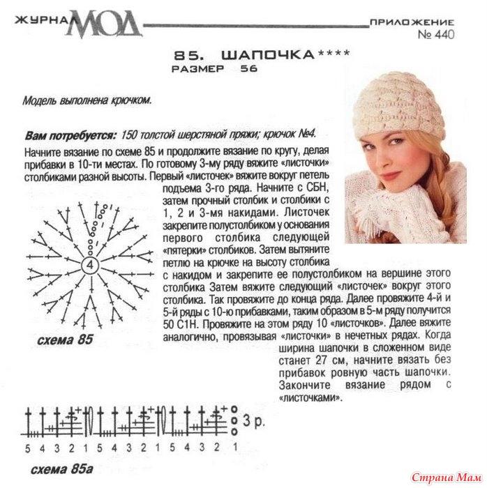 Крючок вязание схемы шапок