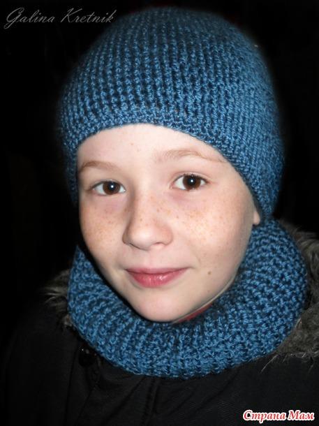 Как связать шарф с шапкой вместе