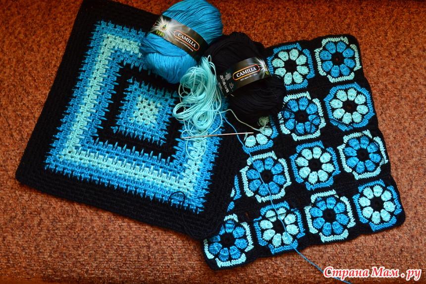Афганское вязание крючком квадраты 35