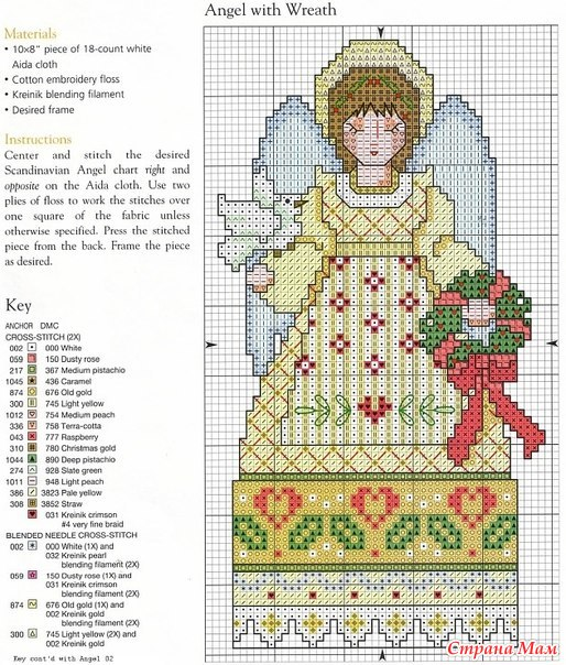 Новогодние вышивки крестом ангел