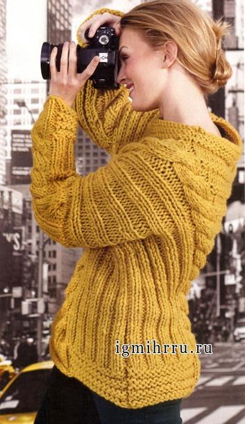 Два свитера и юбочка толстыми спицами