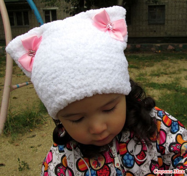 Вязание шапок из пряжи для девочки 867