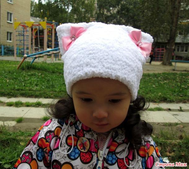 Вязание шапок из пряжи для девочки 124