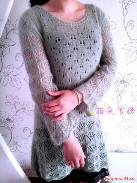 Платье\туника из тонкого мохера. Спицы.