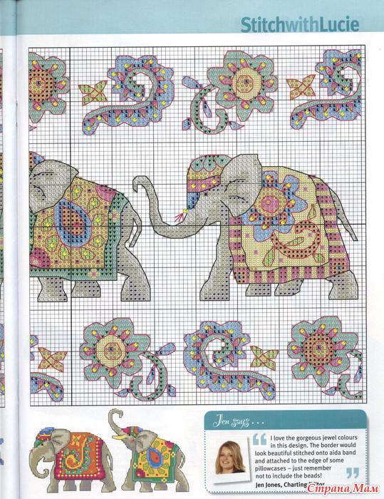 Вышивки. Индийские слоники