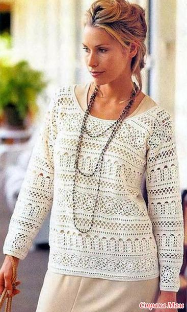 Вяжем пуловер Гардения