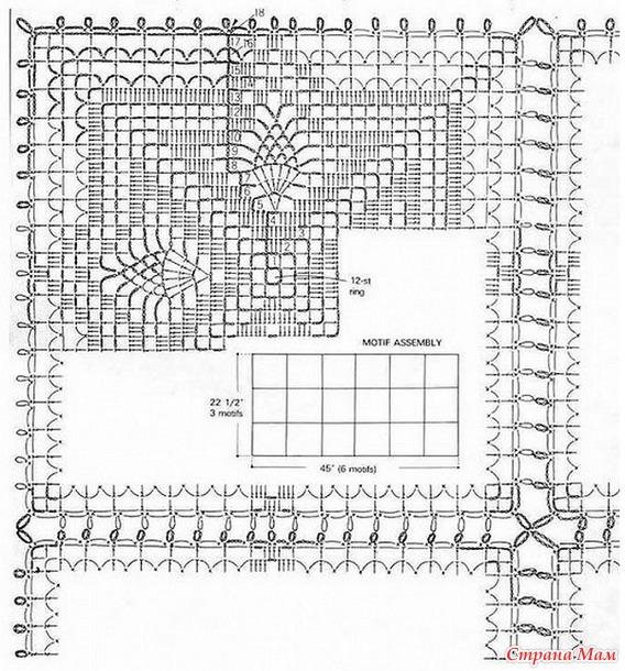 Вязание крючком схема вязания квадратной скатерти 868