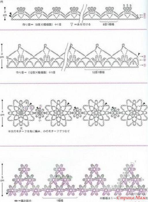Схемы вязания тесьмы крючком.