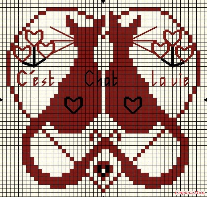 Вышивка крестом котики монохром