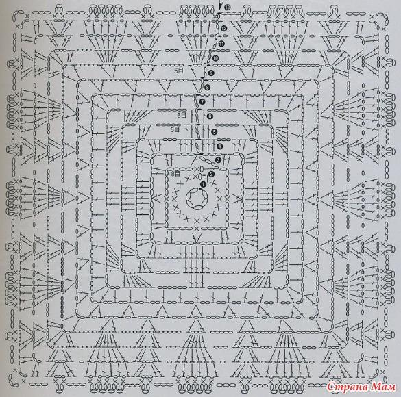 Схема для круглого мотива вязание крючком 650