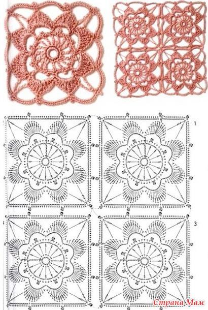 Схема вязания цветочного