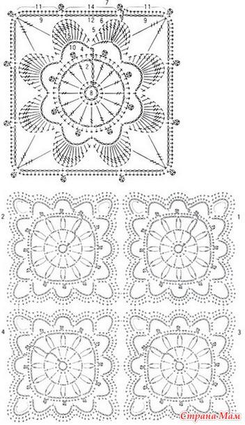 схемы вязания крючком из двух цветов пряжи