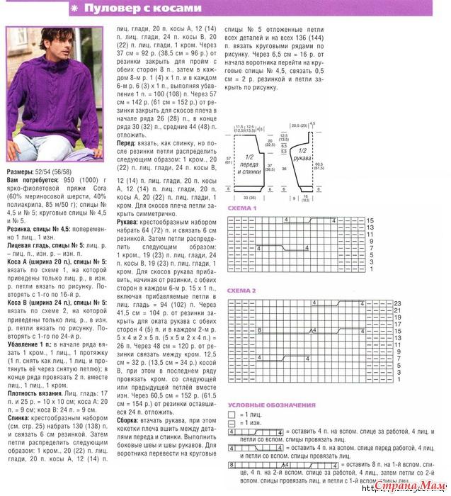 Вязание мужских свитеров спицами схемы 75