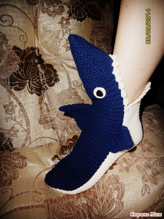 Носки-акула,крючком.