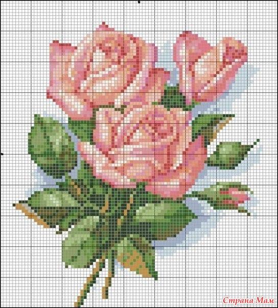 Цветы. Вышивка крестиком.