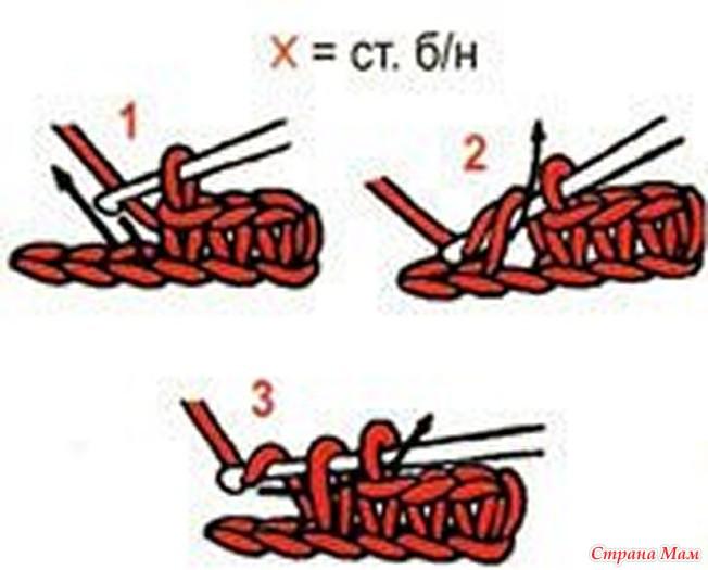 Столбик без накида с воздушной петлей вязание