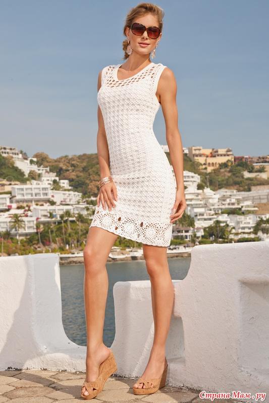 Летние белые вязаные платья