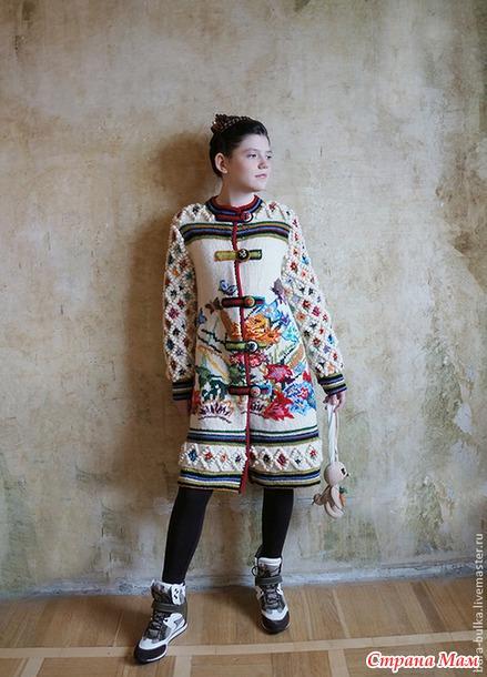 Вышивка на вязаном пальто фото 82