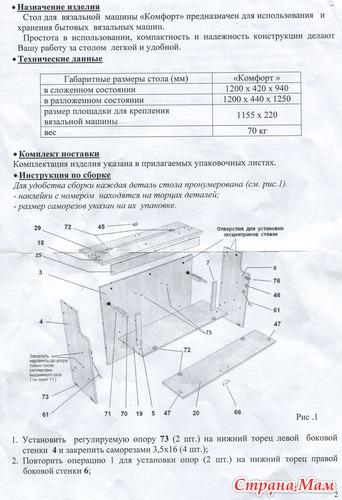Стол для вязальной машины своими руками чертежи 824