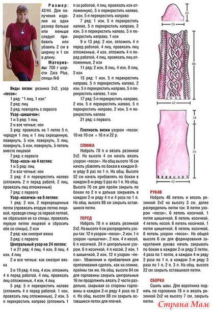 Схемы вязания туник косами