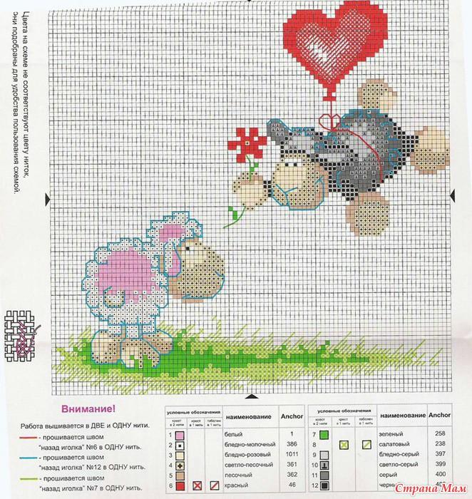 Схема вышивки барашка