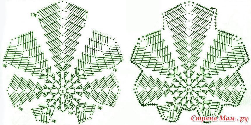 Осенние листья крючком (схемы)