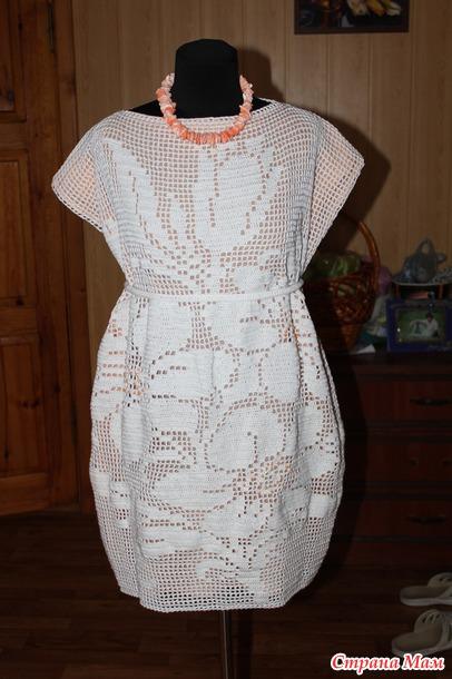 Платье или туника крючком в филейной технике!