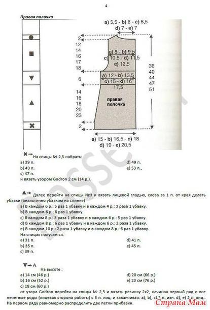 Схема вязания кардигана для девочки 8 лет 20