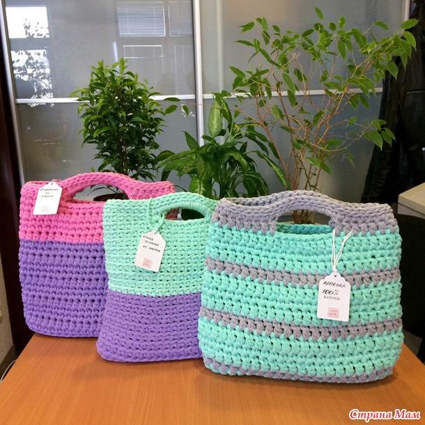Вязание крючком из пряжи сумки