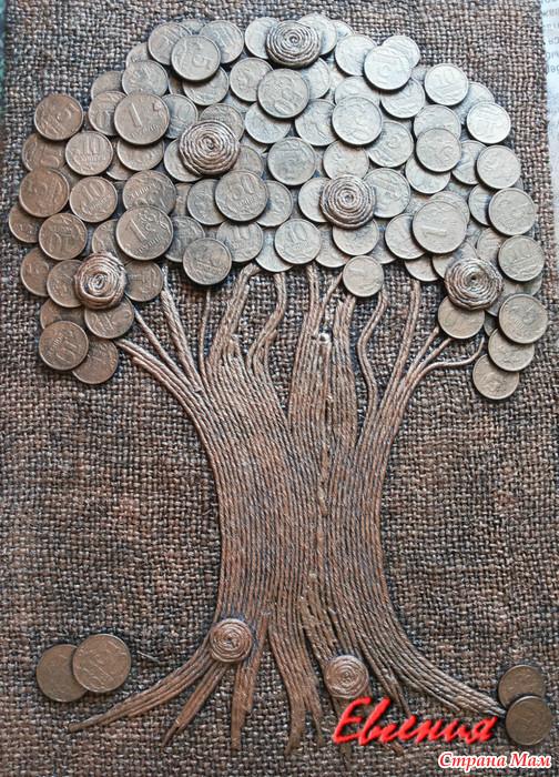 Денежное дерево панно из монет своими руками 14