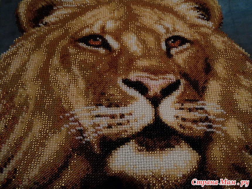 Вышивка схема лев бисер