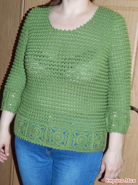 """. Пуловер """"Жемчуг"""" в зеленом цвете."""