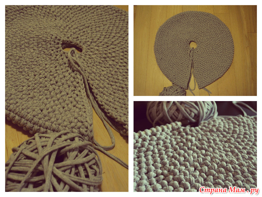 Вязание крючком ленточной пряжей пуфа