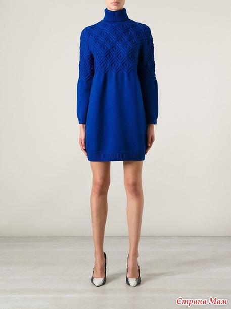 Пуловер или платье интересным узором. Спицы!