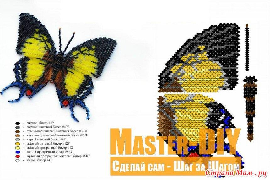 Как из бисера сделать бабочку для начинающих из лески