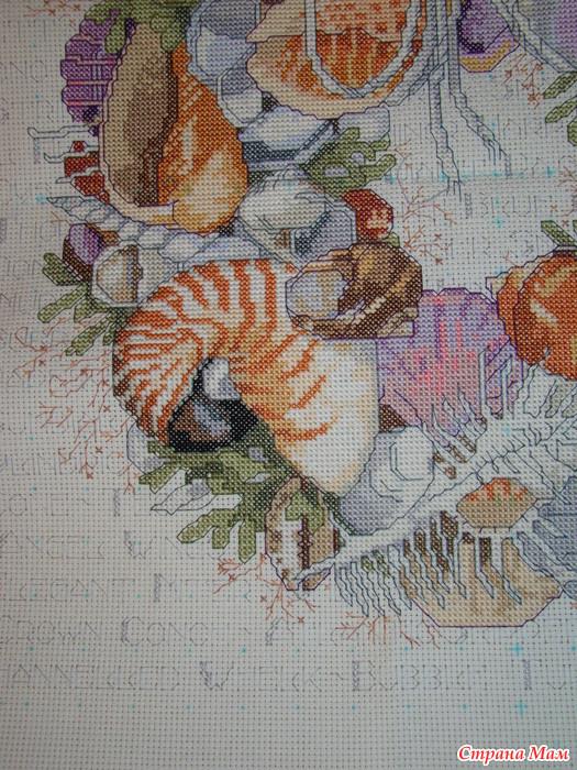 Вышивка с морскими ракушками