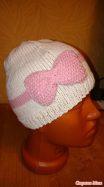 Детская шапочка с бантиком вязание 84