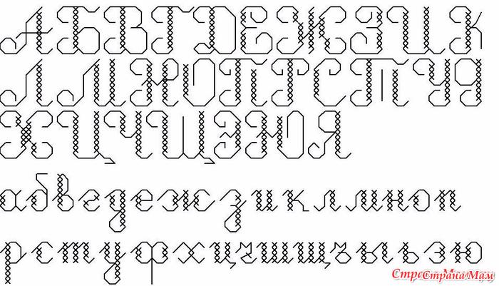 Алфавит схема вышивки крестиком