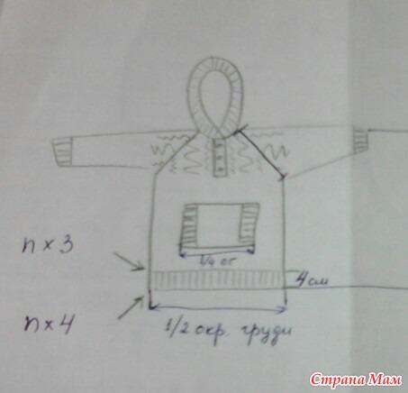 Вяжем детский пуловер с капюшоном. Он-лайн. Дополнено 7.08.