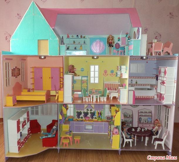 Как сделать дом для кукол своими руками из коробки книжка