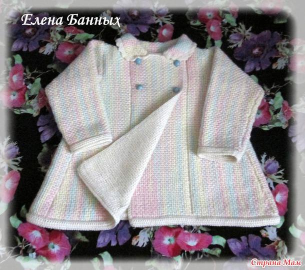 Пальтишко в интересной технике: вышивка по платочной вязке