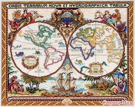 Старая карта мира. схема