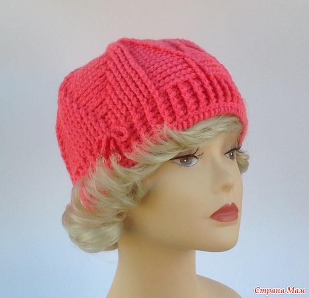 """. Идея шапочки """"Розовая пантера"""" для любителей рельефных столбиков."""