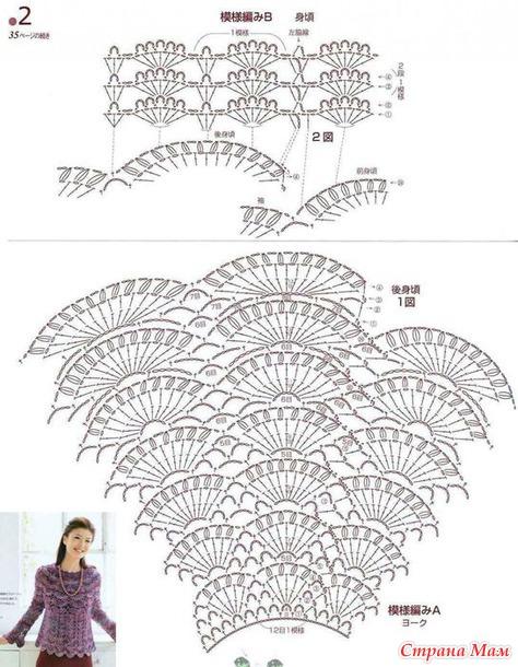 Узор веерочки крючком схема кокетка