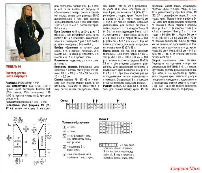 Женский пуловер связанный спицами реглан сверху