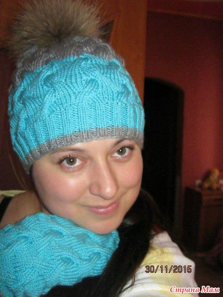 Вязание спицами шапок косам с тенью 699