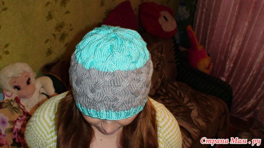 Вязание спицами шапок косам с тенью 686