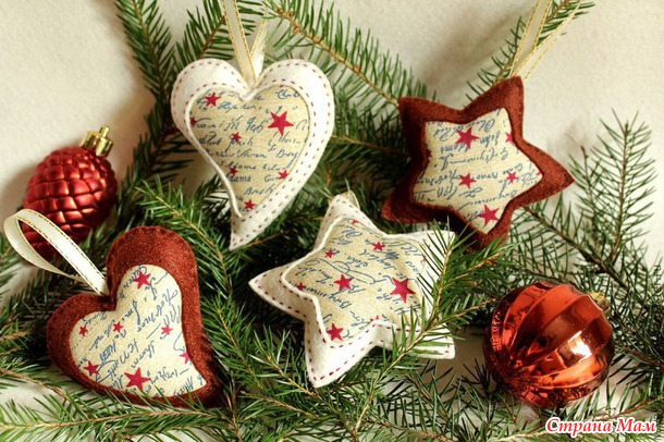 Новогодние текстильные украшения своими руками5